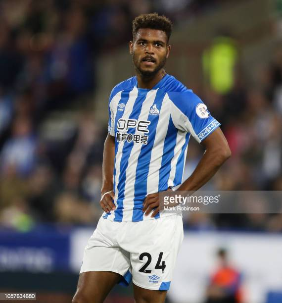 Steve Mounie of Huddersfield Town during the Premier League match between Huddersfield Town and Liverpool FC at John Smith's Stadium on October 20...