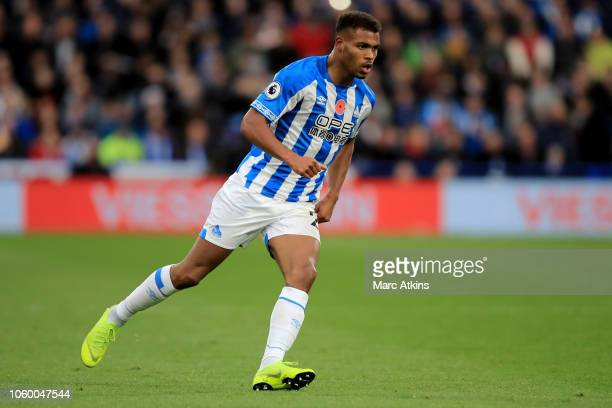 Steve Mounie of Huddersfield Town during the Premier League match between Huddersfield Town and West Ham United at John Smith's Stadium on November...