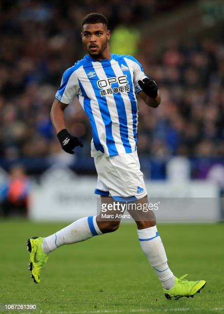 Steve Mounie of Huddersfield Town during the Premier League match between Huddersfield Town and Brighton Hove Albion at John Smith's Stadium on...
