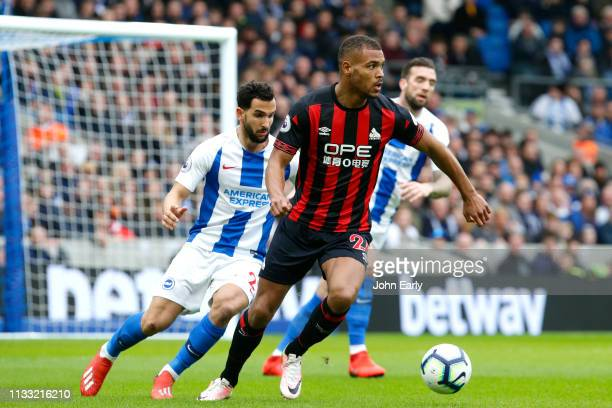 Steve Mounie of Huddersfield Town during the Premier League match between Brighton Hove Albion and Huddersfield Town at American Express Community...