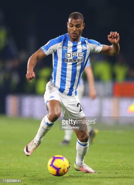 Steve Mounie of Huddersfield Town during the Premier League match between Huddersfield Town and Wolverhampton Wanderers at John Smith's Stadium on...
