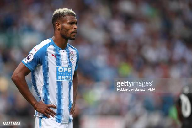Steve Mounie of Huddersfield Town during the Premier League match between Huddersfield Town and Newcastle United at Galpharm Stadium on August 20...