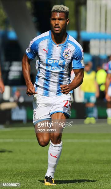 Steve Mounie of Huddersfield Town during the Premier League match between Huddersfield Town and Southampton at Galpharm Stadium on August 26 2017 in...