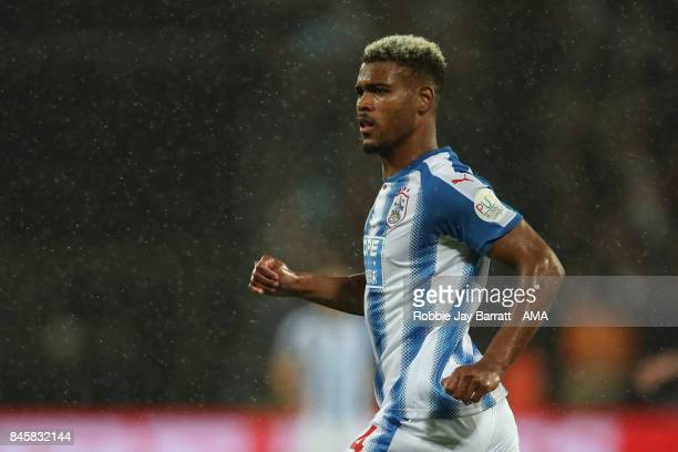 Steve Mounie of Huddersfield Town during the Premier League match between West Ham United and Huddersfield Town at London Stadium on September 11...