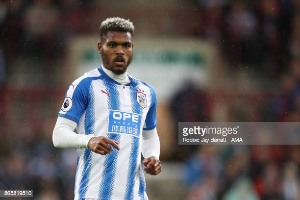 Steve Mounie of Huddersfield Town during the Premier League match between Huddersfield Town and Manchester United at John Smith's Stadium on October...