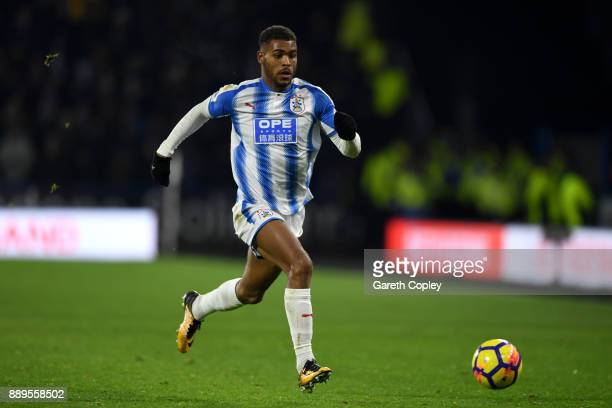 Steve Mounie of Huddersfield Town during the Premier League match between Huddersfield Town and Brighton and Hove Albion at John Smith's Stadium on...