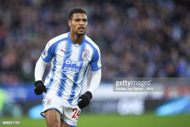 Steve Mounie of Huddersfield Town during the Premier League match between Huddersfield Town and Stoke City at John Smith's Stadium on December 26...
