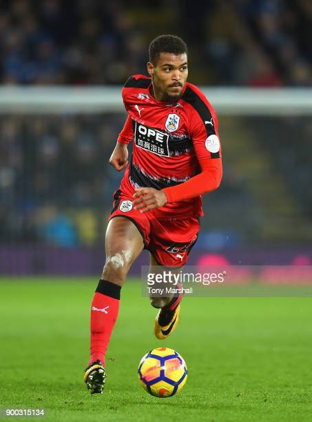 Steve Mounie of Huddersfield Town during the Premier League match between Leicester City and Huddersfield Town at The King Power Stadium on January 1...