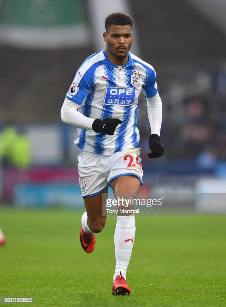 Steve Mounie of Huddersfield Town during the Premier League match between Huddersfield Town and Swansea City at John Smith's Stadium on March 10 2018...