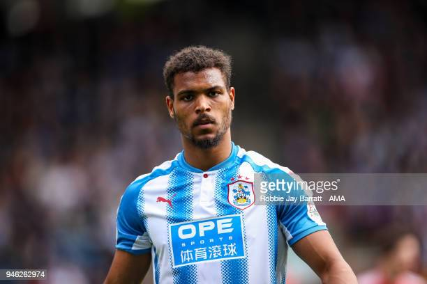 Steve Mounie of Huddersfield Town during the Premier League match between Huddersfield Town and Watford at John Smith's Stadium on April 14 2018 in...