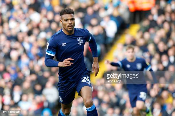 Steve Mounie of Huddersfield Town during the Sky Bet Championship match between Leeds United and Huddersfield Town at Elland Road on March 07 2020 in...