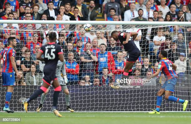 Steve Mounie of Huddersfield Town heads towards goal during the Premier League match between Crystal Palace and Huddersfield Town at Selhurst Park on...