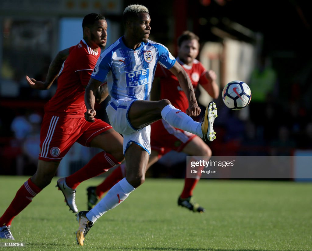 Steve Mounie of Huddersfield Town in action during the pre season friendly game at Wham Stadium on July 12, 2017 in Accrington, England.