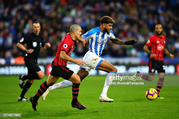 Steve Mounie of Huddersfield Town in action during the Premier League match between Huddersfield Town and Southampton FC at John Smith's Stadium on...