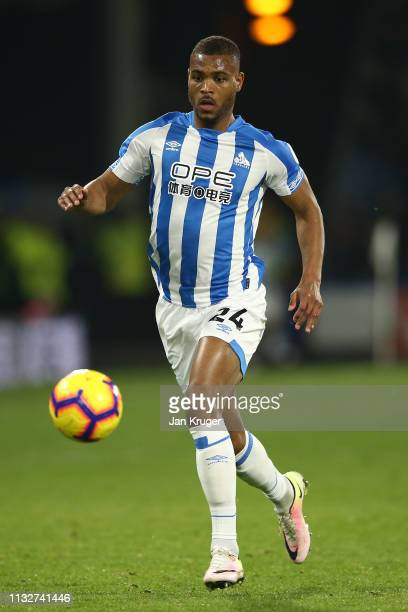 Steve Mounie of Huddersfield Town in action during the Premier League match between Huddersfield Town and Wolverhampton Wanderers at John Smith's...