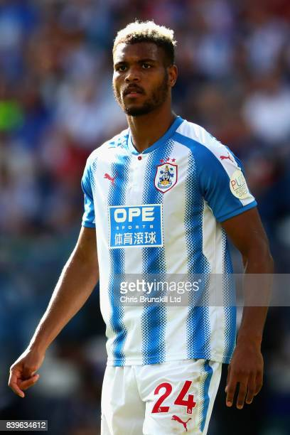 Steve Mounie of Huddersfield Town in action during the Premier League match between Huddersfield Town and Southampton at John Smith's Stadium on...