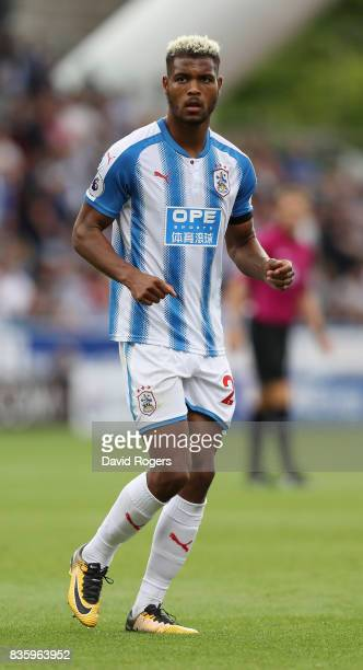 Steve Mounie of Huddersfield Town looks on during the Premier League match between Huddersfield Town and Newcastle United at John Smith's Stadium on...
