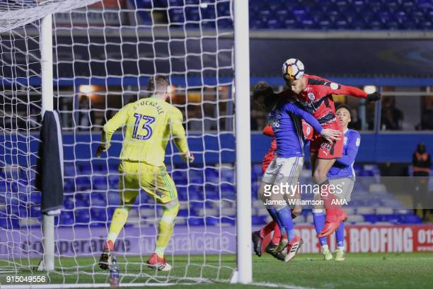 Steve Mounie of Huddersfield Town scores a goal to make it 21 during The Emirates FA Cup Fourth Round Replay at St Andrews on February 6 2018 in...
