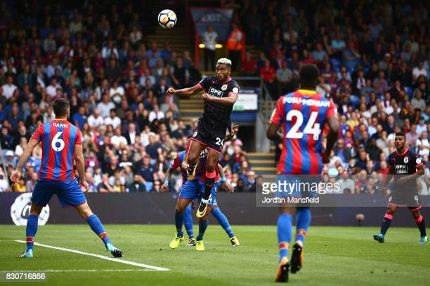 Steve Mounie of Huddersfield Town scores his sides second goal during the Premier League match between Crystal Palace and Huddersfield Town at...