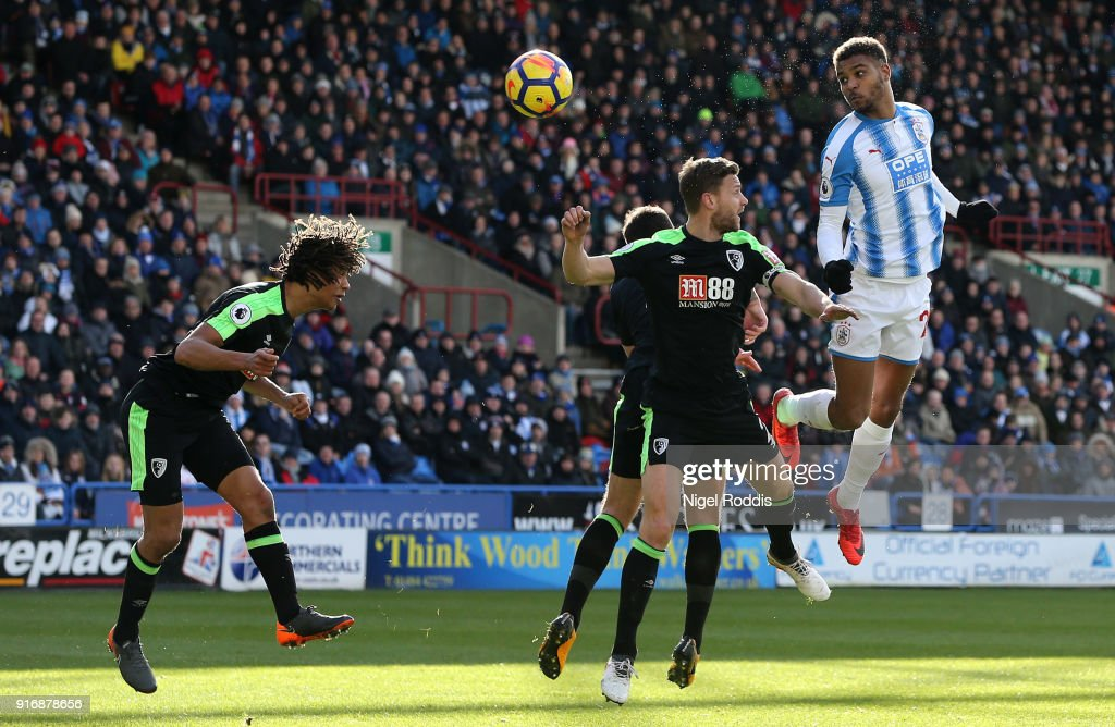 Steve Mounie of Huddersfield Town scores his sides second goal during the Premier League match between Huddersfield Town and AFC Bournemouth at John Smith's Stadium on February 11, 2018 in Huddersfield, England.