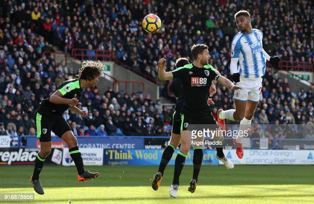 Steve Mounie of Huddersfield Town scores his sides second goal during the Premier League match between Huddersfield Town and AFC Bournemouth at John...