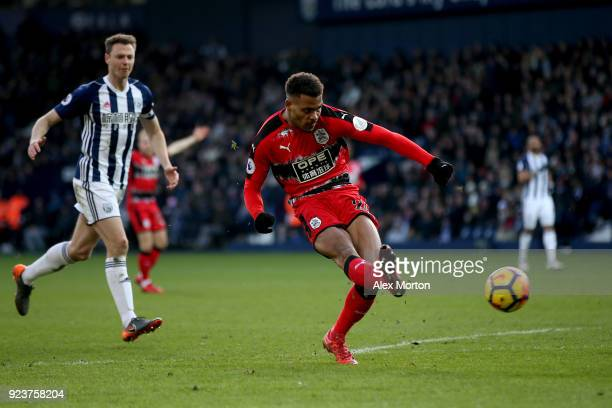 Steve Mounie of Huddersfield Town scores his sides second goal during the Premier League match between West Bromwich Albion and Huddersfield Town at...