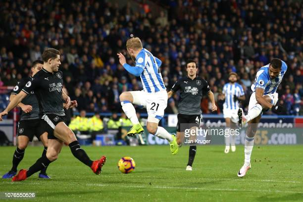 Steve Mounie of Huddersfield Town shoots on goal during the Premier League match between Huddersfield Town and Burnley FC at John Smith's Stadium on...