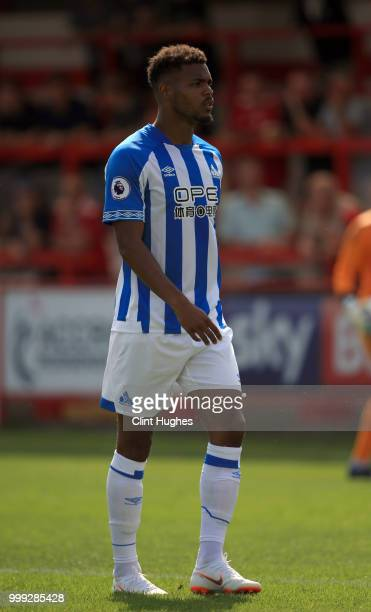 Steve Mounie of Huddersfiled Town during the preseason friendly between Accrington Stanley and Huddersfield Town at The Crown Groundon July 14 2018...