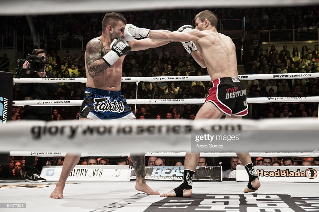 Steve Moxon and Niclas Larsen fight in the Glory Superfight Series on April 12, 2014 in Istanbul, Turkey.