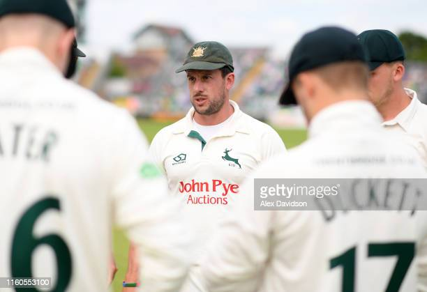 Steve Mullaney of Nottinghamshire talks to his team during Day One of the Specsavers County Championship Division One match between Somerset and...