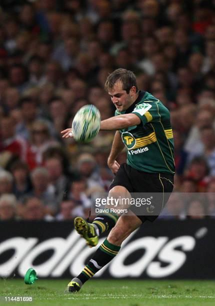 Steve Myler of Northampton kicks a penalty during the Heineken Cup Final match between Leinster and Northampton Saints at the Millennium Stadium on...