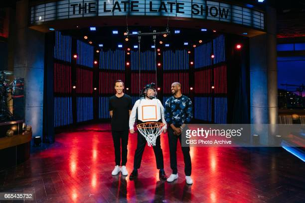 Steve Nash and Chris Paul play Human Backboard Basketball with James Corden during 'The Late Late Show with James Corden' Monday April 3 2017 On The...
