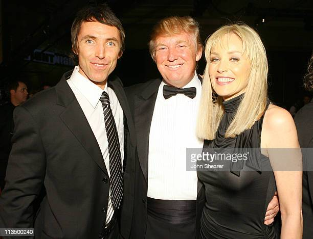 Steve Nash Donald Trump and Sharon Stone during Muhammad Ali's Celebrity Fight Night XIII Inside at Marriot Desert Ridge Resort Spa in Phoenix...