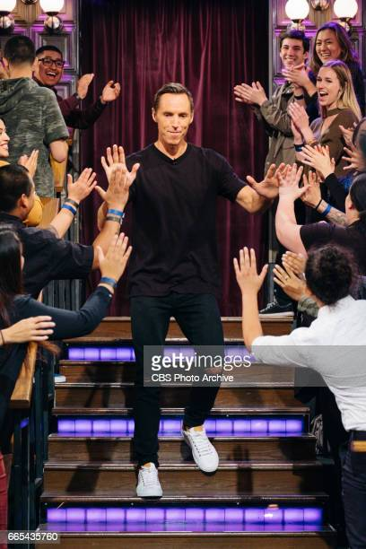 Steve Nash greets the audience during 'The Late Late Show with James Corden' Monday April 3 2017 On The CBS Television Network