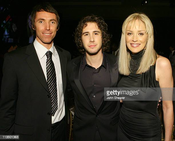 Steve Nash Josh Groban and Sharon Stone during Muhammad Ali's Celebrity Fight Night XIII Inside at Marriot Desert Ridge Resort Spa in Phoenix Arizona...