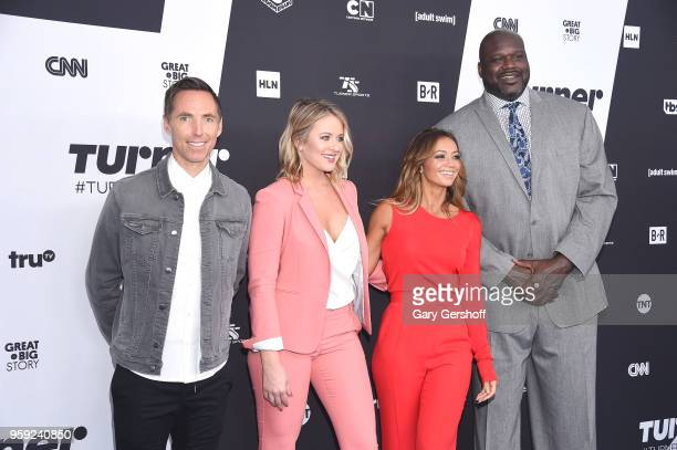 Steve Nash Kristen Ledlow Kate Abdo and Shaquille O'Neal attend the 2018 Turner Upfront at One Penn Plaza on May 16 2018 in New York City