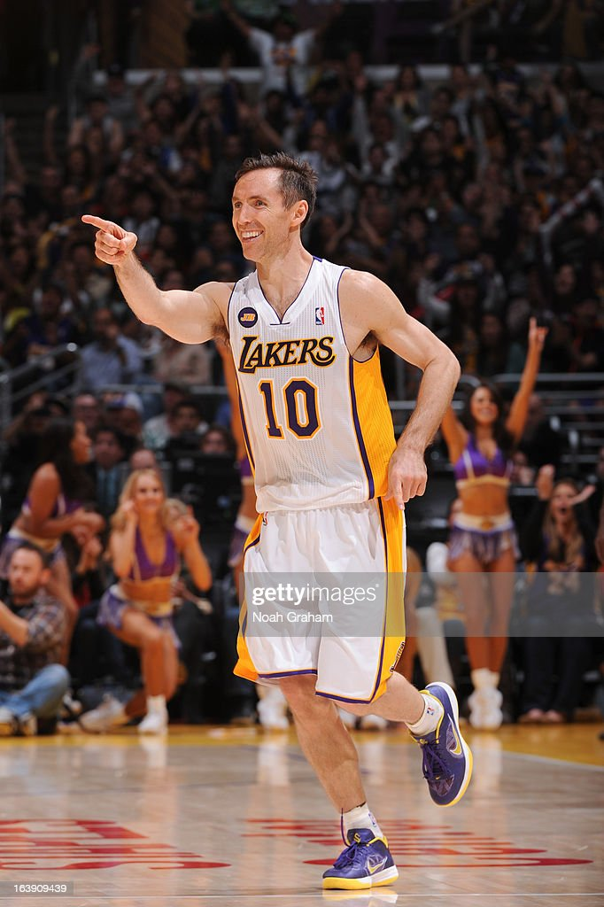 Steve Nash #10 of the Los Angeles Lakers celebrates during a game against the Sacramento Kings at Staples Center on March 17, 2013 in Los Angeles, California.