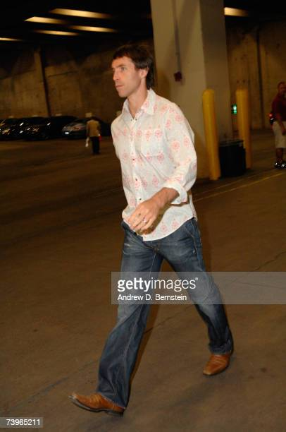 Steve Nash of the Phoenix Suns arrives prior to the Suns hosting the Los Angeles Lakers in Game Two of the Western Conference Quarterfinals during...