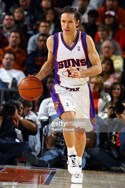 Steve Nash of the Phoenix Suns brings the ball up court against the Los Angeles Lakers during the game on December 28 2009 at the US Airways Center...