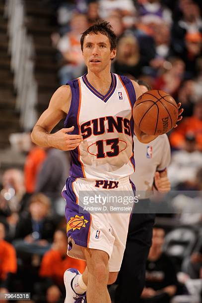 Steve Nash of the Phoenix Suns brings the ball upcourt during the game against the Charlotte Bobcats on February 4, 2008 at US Airways Center in...