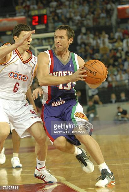 Steve Nash of the Phoenix Suns dribbls during the preseason game between the Phoenix Suns and Virtus Lottomatica Roma team at PalaLottomatica as part...