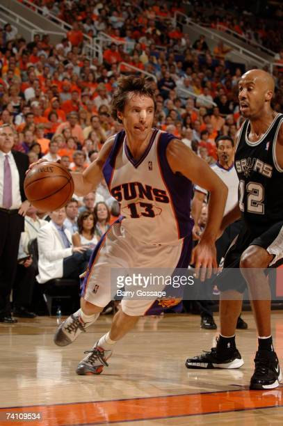Steve Nash of the Phoenix Suns drives against Bruce Bowen of the San Antonio Spurs in Game Two of the Western Conference Semifinals during the 2007...