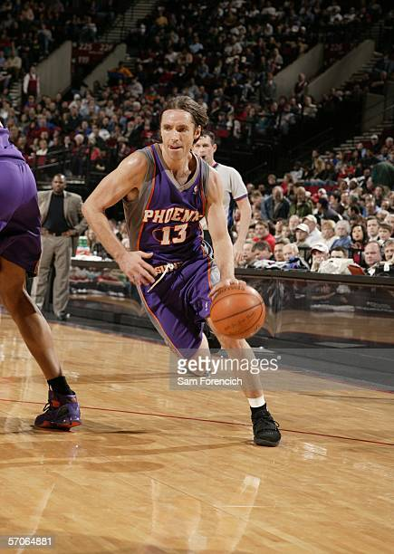 Steve Nash of the Phoenix Suns drives against the Portland Trail Blazers March 12 2006 at the Rose Garden Arena in Portland Oregon NOTE TO USER User...