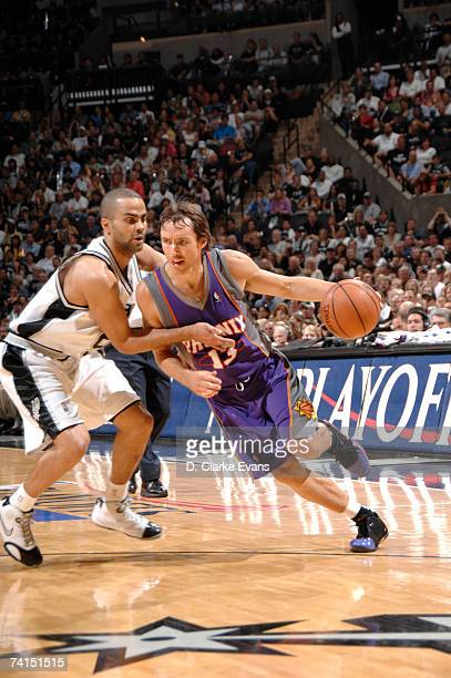 Steve Nash of the Phoenix Suns drives against Tony Parker of the San Antonio Spurs in Game Four of the Western Conference Semifinals during the 2007...