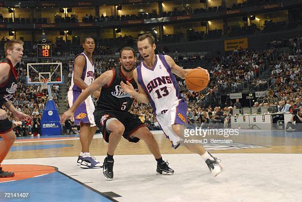 Steve Nash of the Phoenix Suns drives around Rick Brunson of the Philadelphia 76ers during a preseason game as part of the NBA Europe Live Tour on...