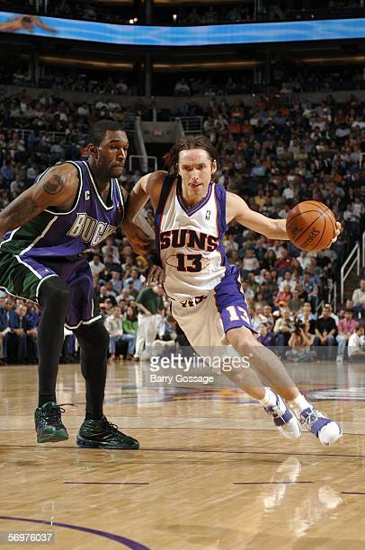 Steve Nash of the Phoenix Suns drives past Joe Smith of the Milwaukee Bucks on March 1 2006 at US Airways Center in Phoenix Arizona NOTE TO USER User...