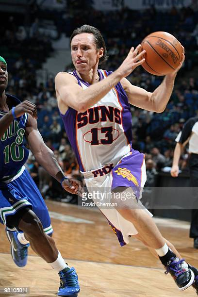 Steve Nash of the Phoenix Suns drives to the basket against Jonny Flynn of the Minnesota Timberwolves during the game on March 28 2010 at the Target...