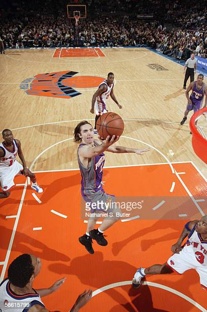 Steve Nash of the Phoenix Suns drives to the basket for a layup against the New York Knicks on January 2 2006 at Madison Square Garden in New York...