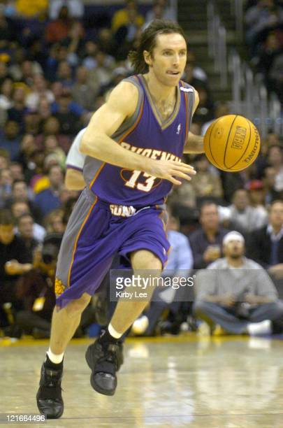 Steve Nash of the Phoenix Suns drives with the ball during the game between the Phoenix Suns and the Los Angeles Lakers at the Staples Center in Los...