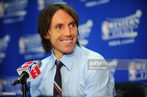 Steve Nash of the Phoenix Suns during a post game interview as the Suns defeat the Los Angeles Lakers 108118 in Game Three of the Western Conference...